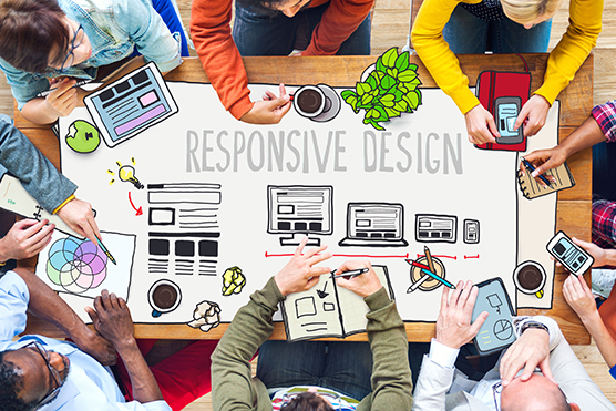 iverse People Working and Responsive Design Concept