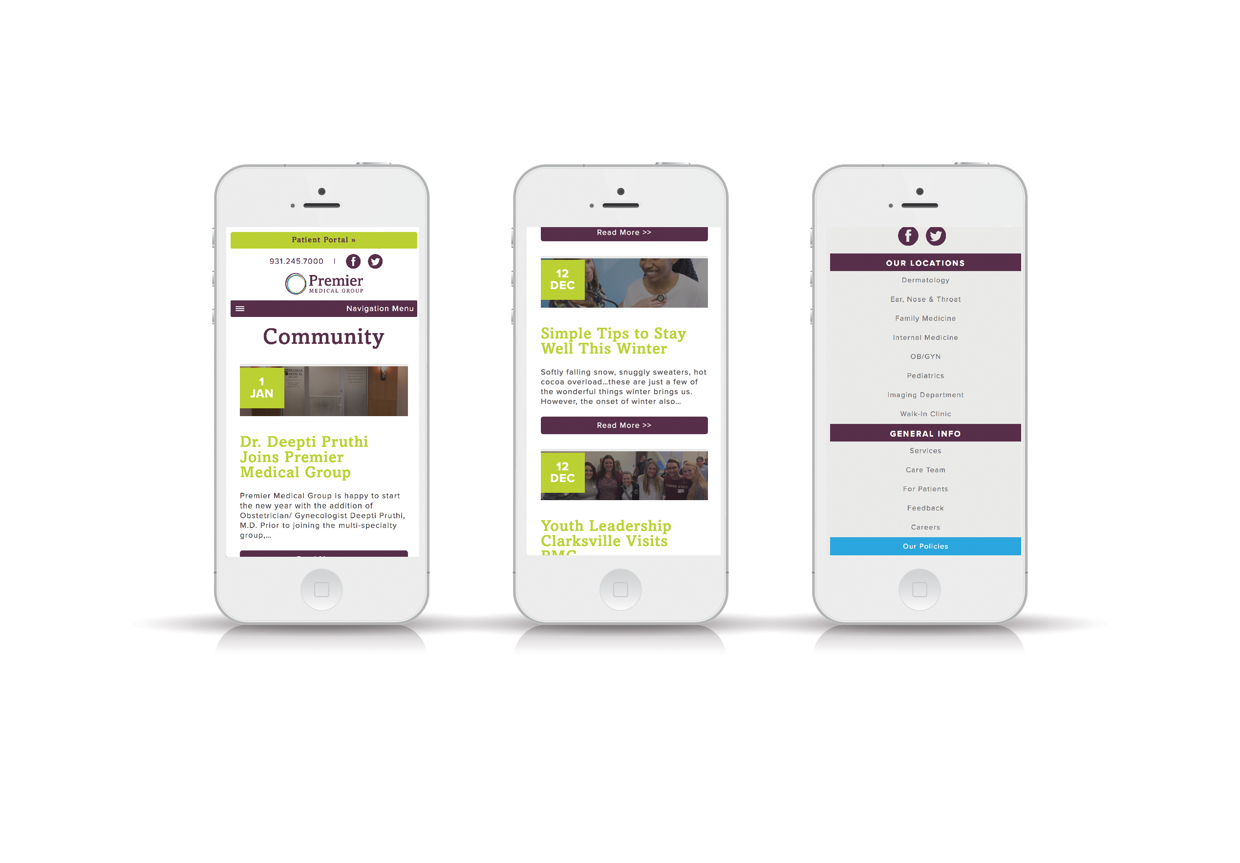Medical Group Mobile Responsive Website Design iPhone View