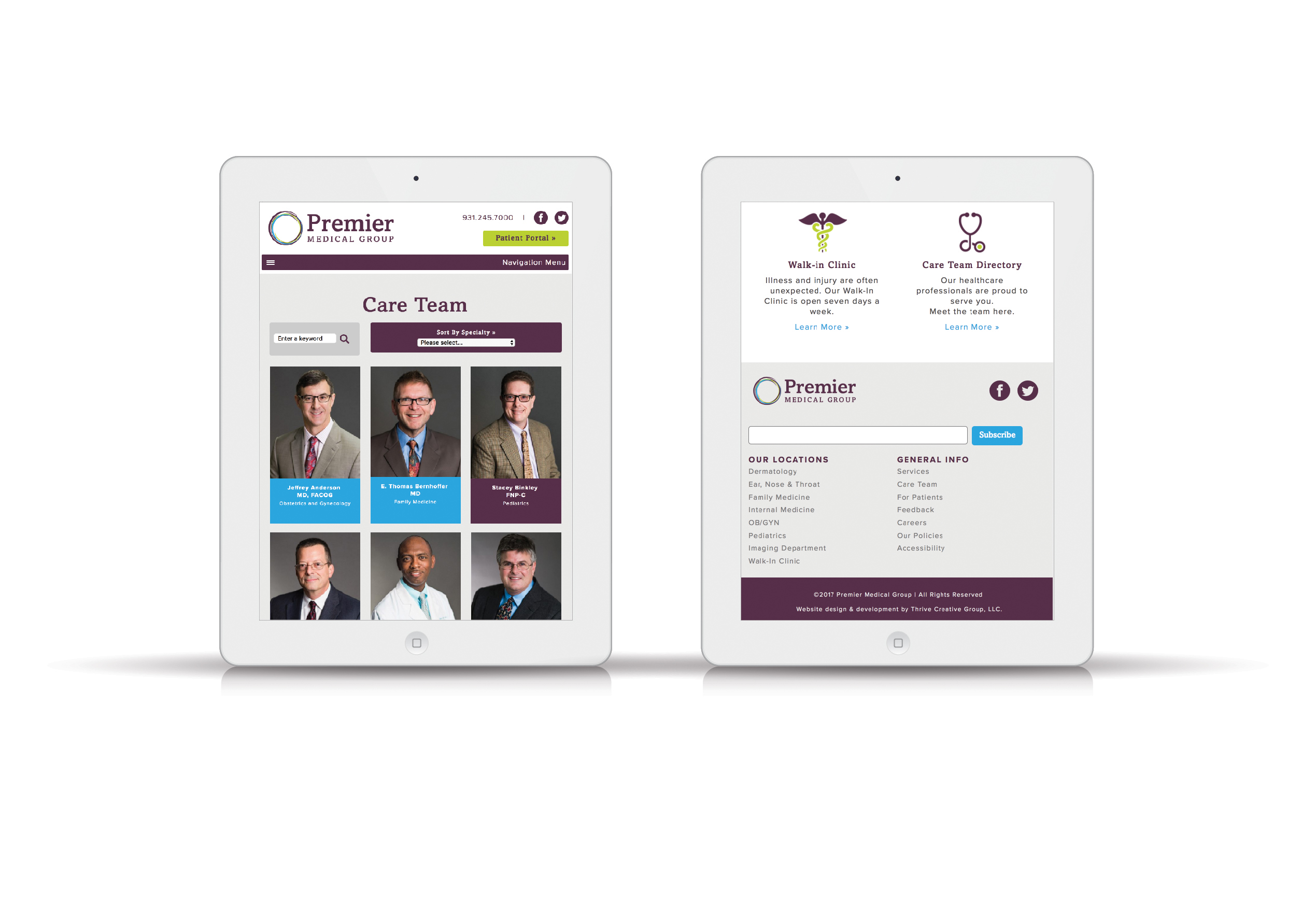 Medical Group Website Design Tn Tablet View
