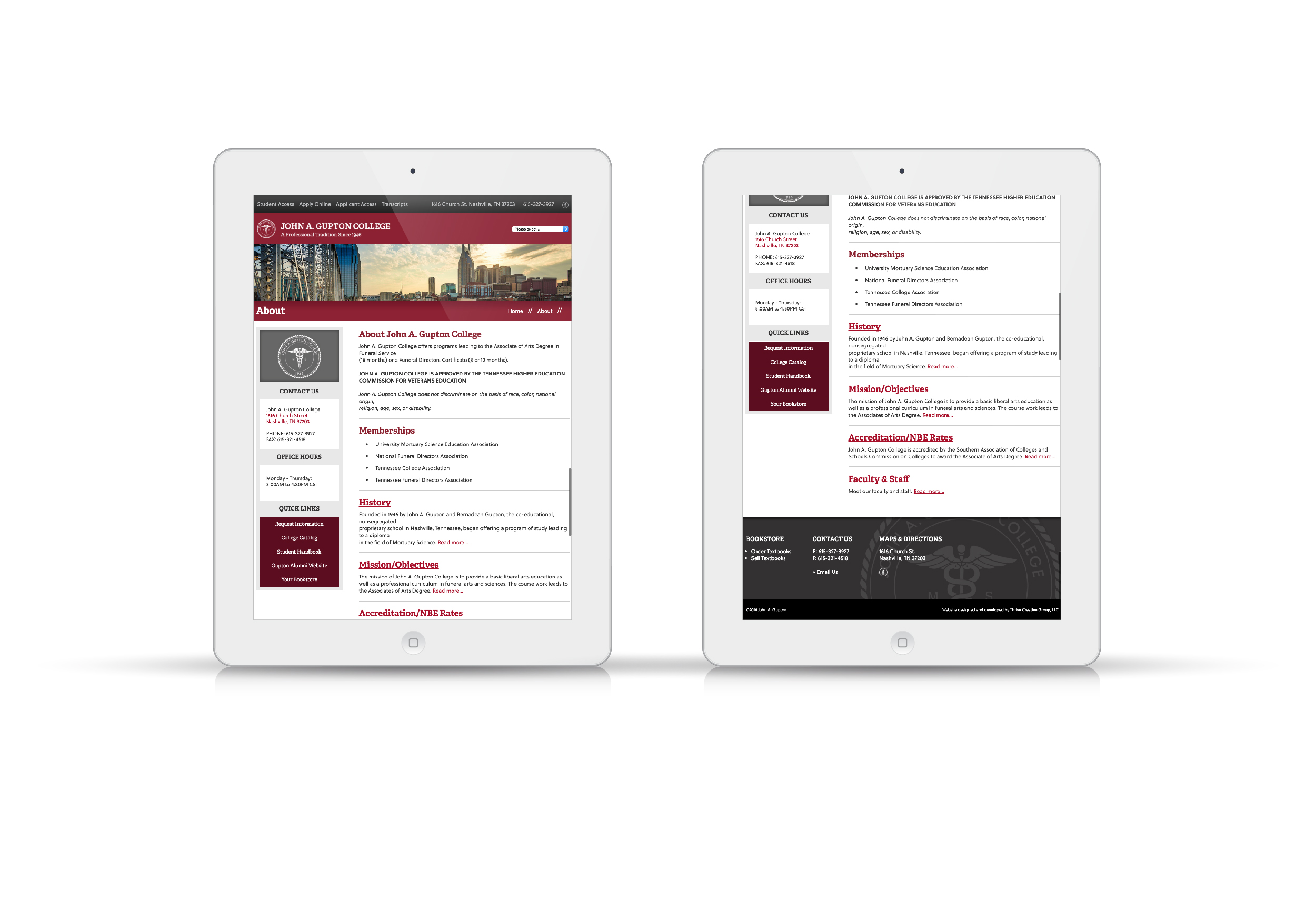 John A. Gupton College Website On Tablet Screen
