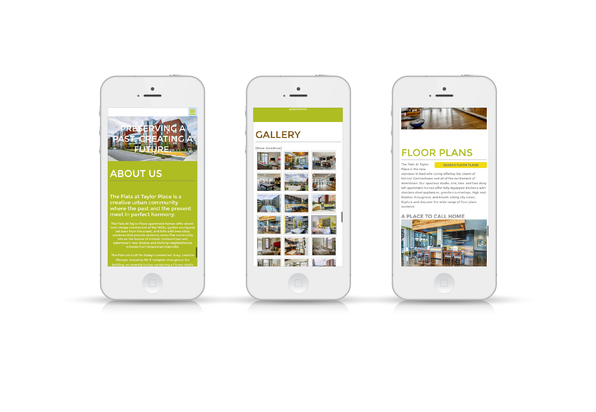 The Flats at Taylor Place Website On Phone Screen
