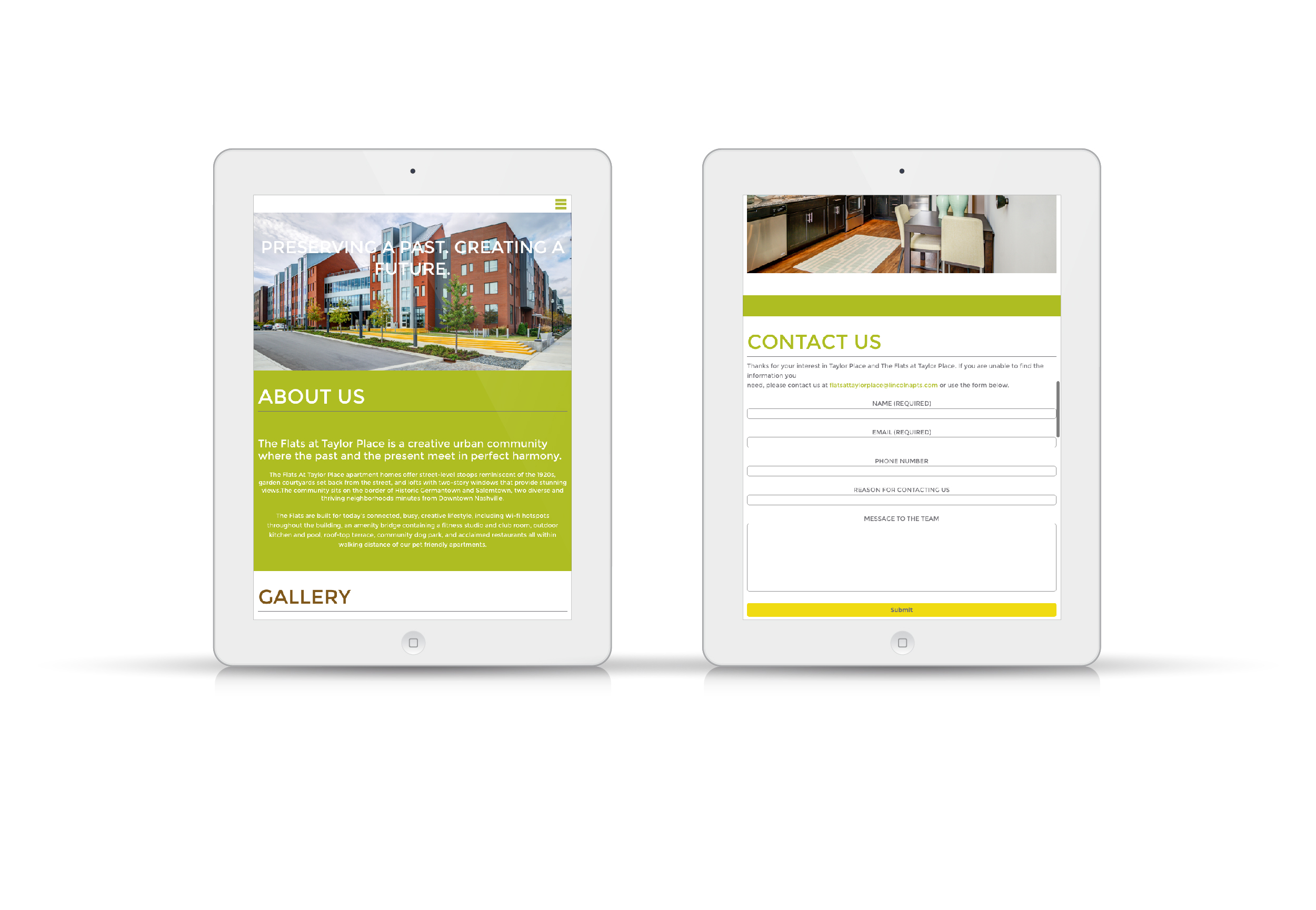 The Flats at Taylor Place Website On Tablet Screen