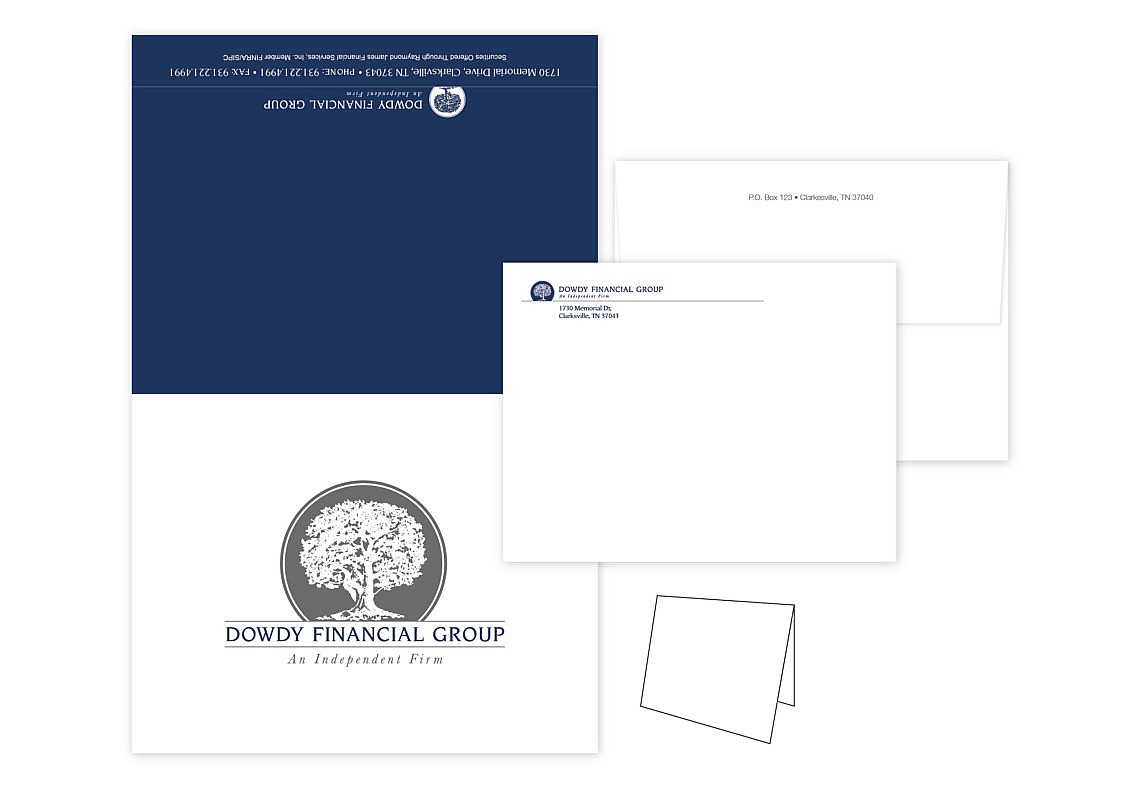 Financial Custom Brand Design Note Card and Envelopes
