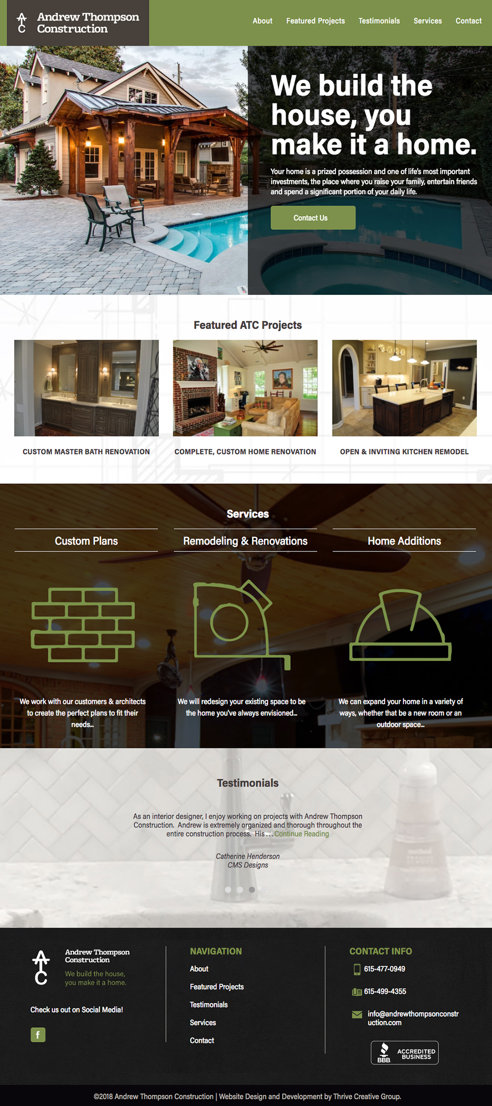 Andrew Thompson Construction Website Home Page