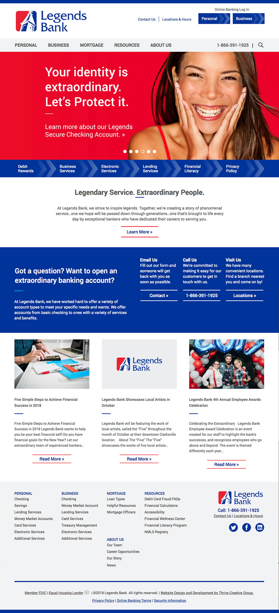 Legends Bank Homepage Website Design by Thrive Creative Group