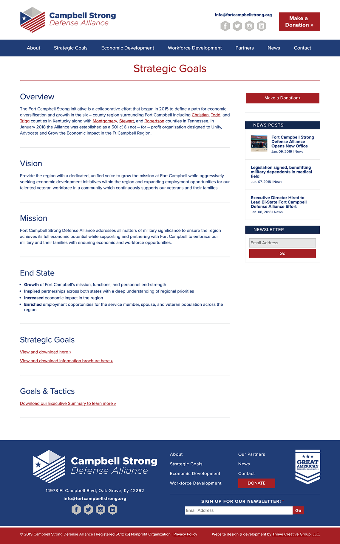 Campbell Strong Defense Alliance Web Design Interior Page by Thrive