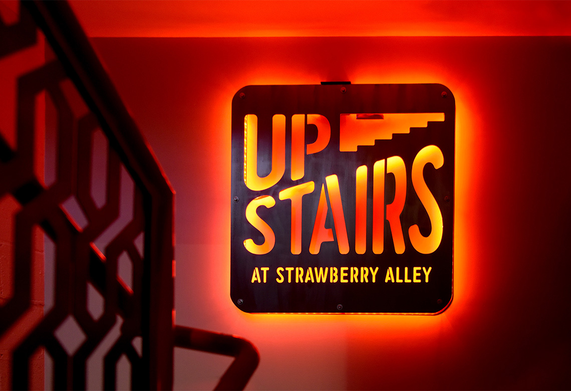 Upstairs Restaurant Signage Branding Logo Design
