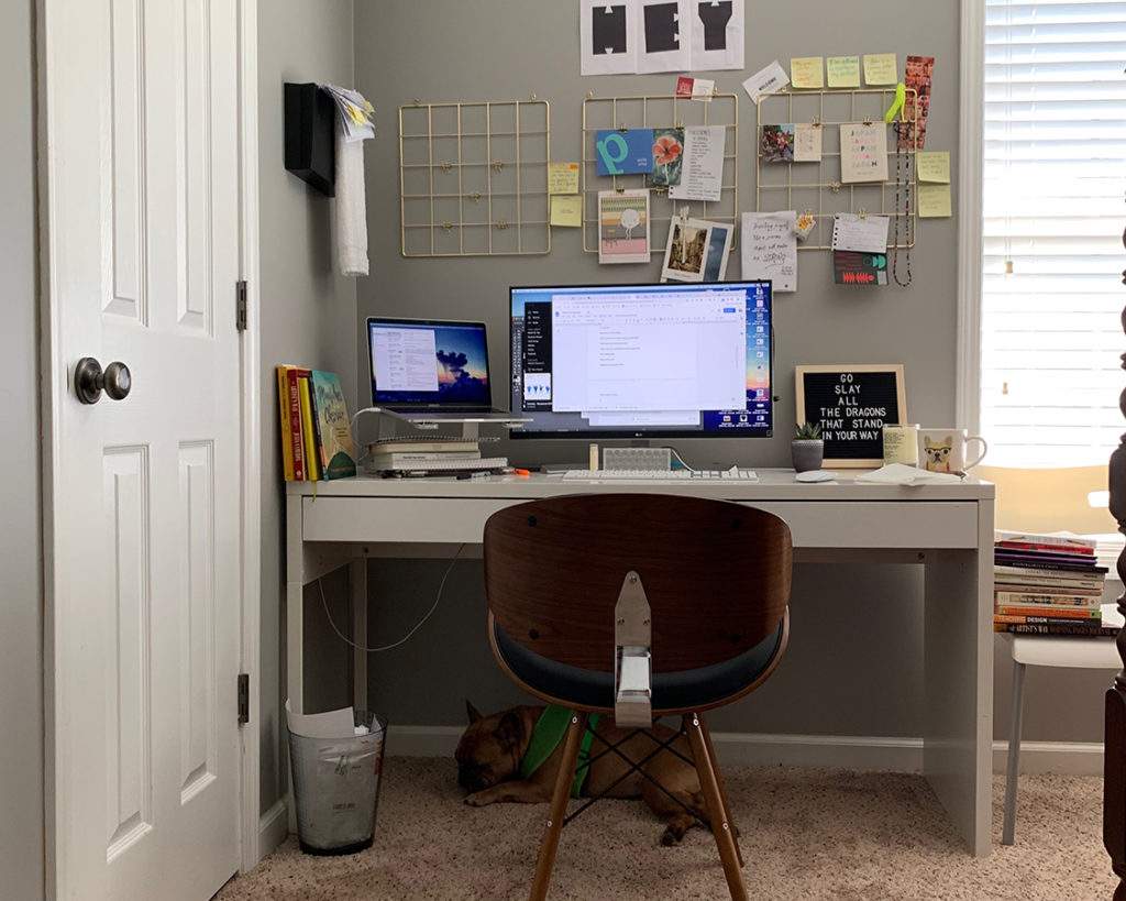 Work From Home Desk Setup of Graphic Designer