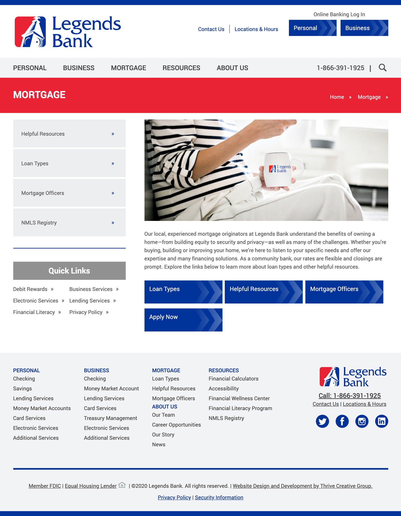 Mortgage Interior Page Best-Bank Website Design Winner